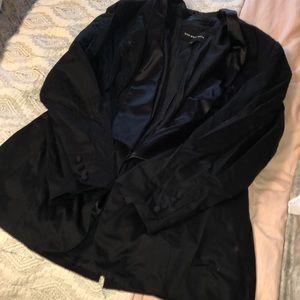 Satin trimmed tux blazer